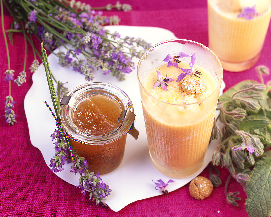 Lime & honey jelly with lavender, melon drink with borage flowers