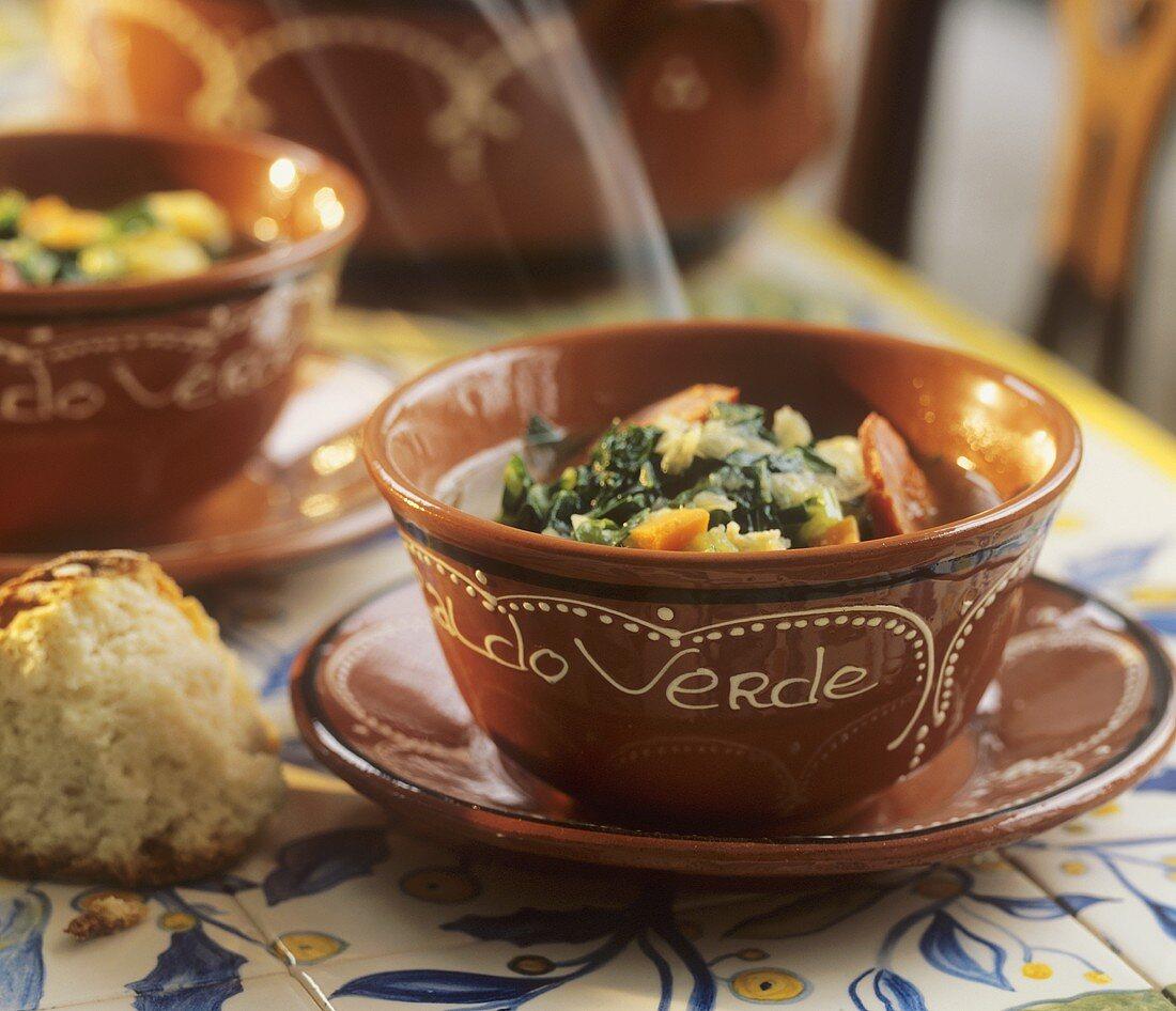 Caldo verde (Cabbage soup with chourico, Portugal)