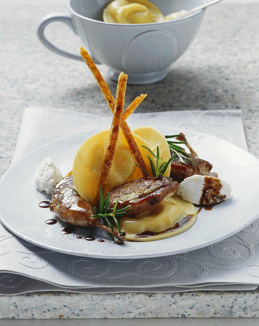 Ricotta ravioli with quail breast