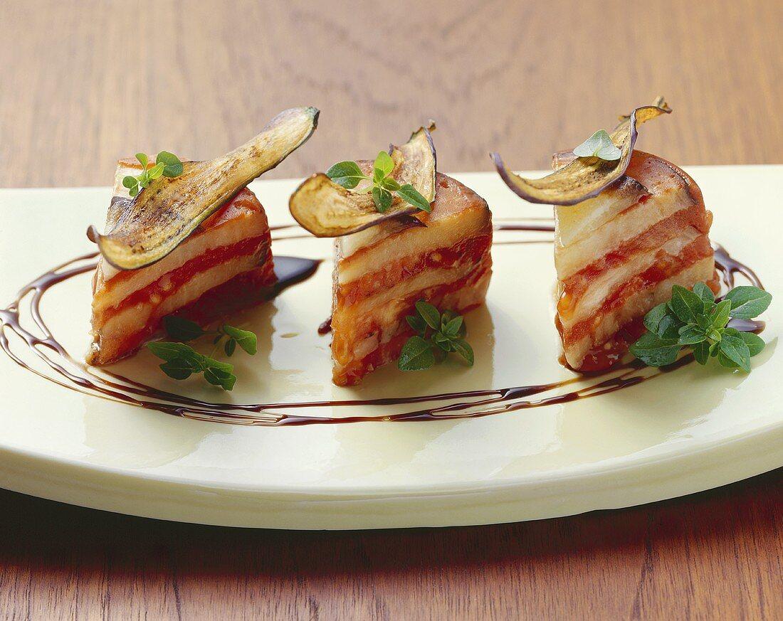 Gelato di melanzana e pomodoro (Chilled tomato and aubergine cake)