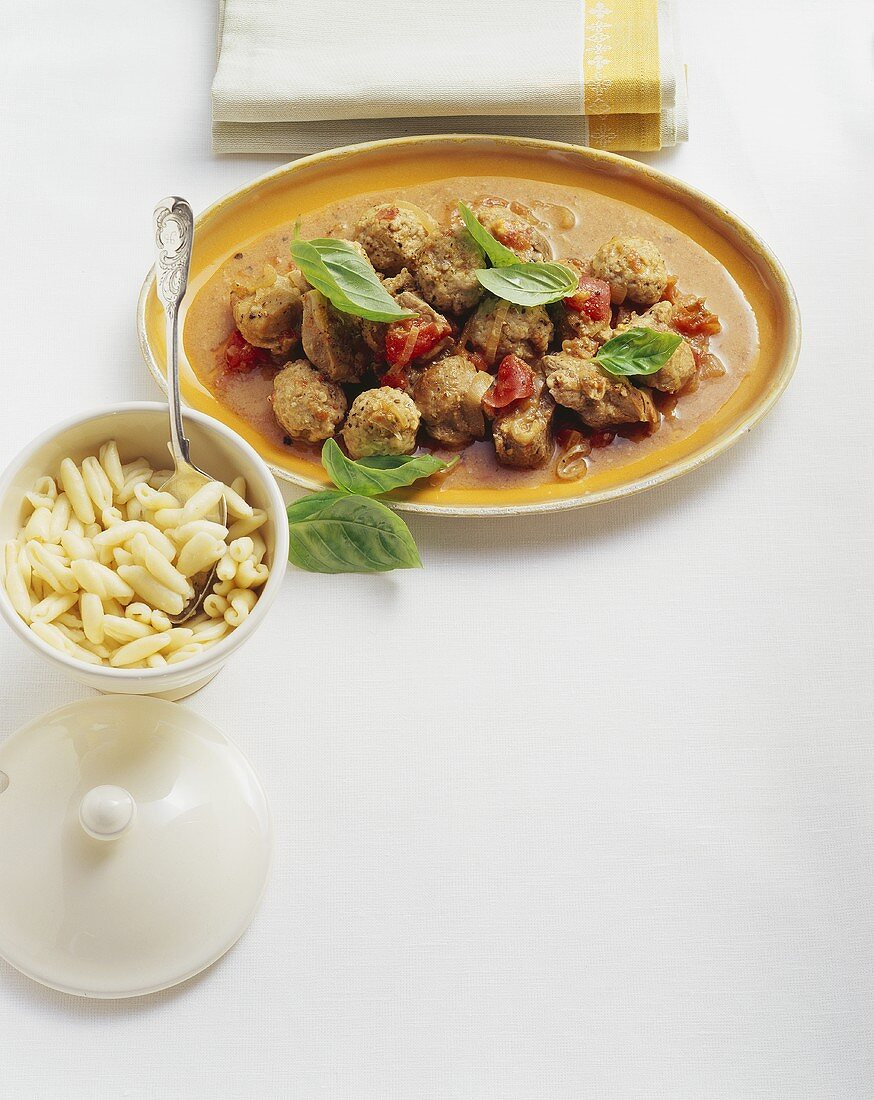 Maiale alla calabrese (Pork ragout with veal dumplings)