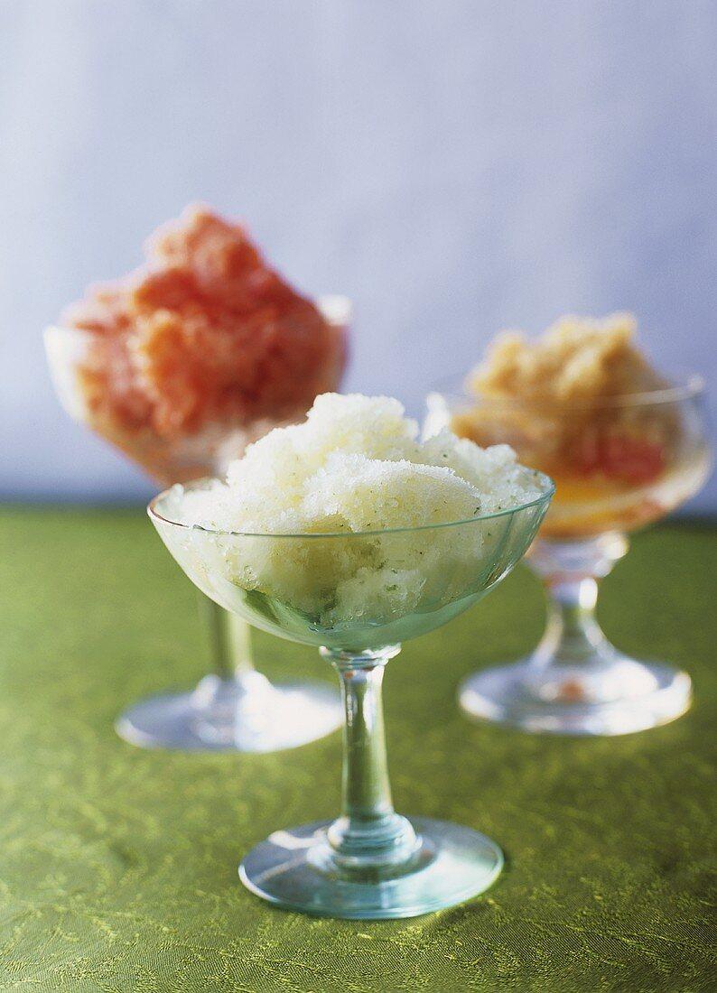Granitas: strawberry, honeydew melon and lemon tea