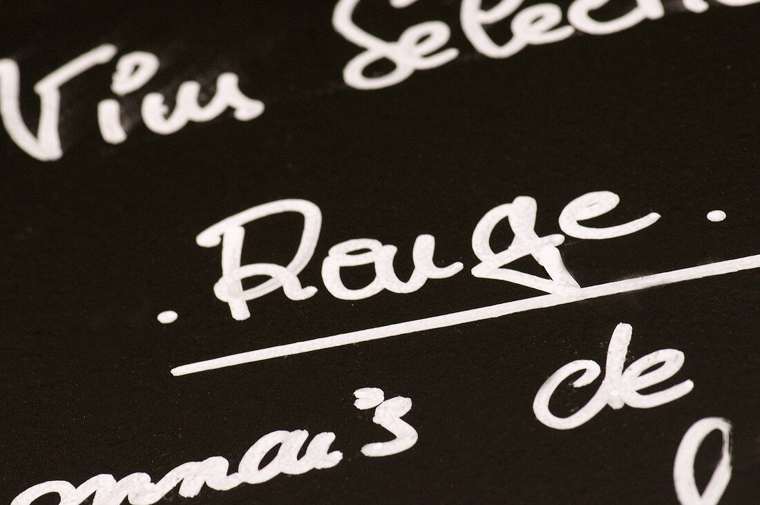 Detail from a bistro wine list
