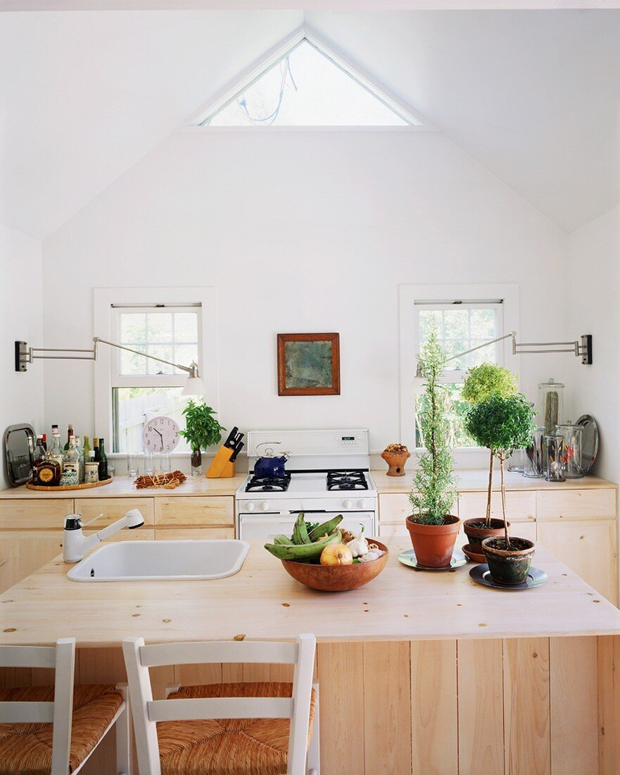 A kitchen with wooden units