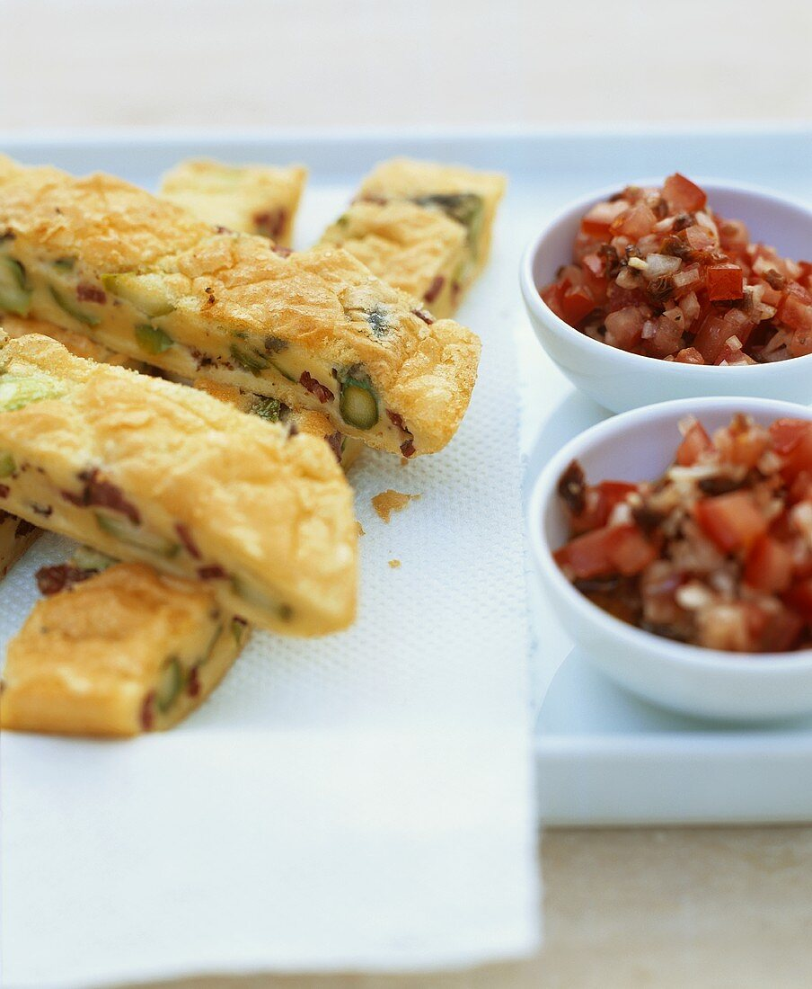 Asparagus and pastrami frittata with tomato salsa