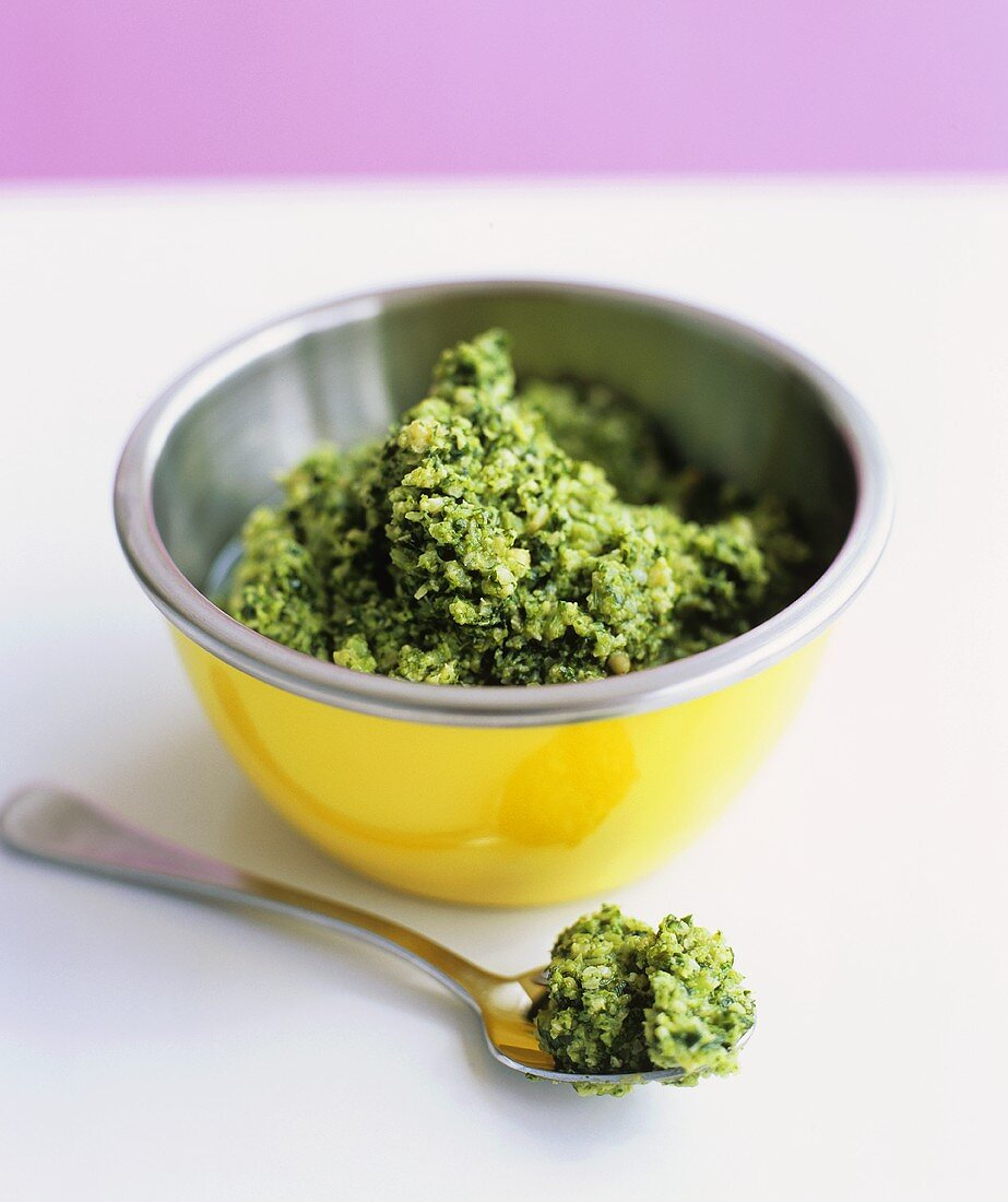 A small bowl of broccoli pesto