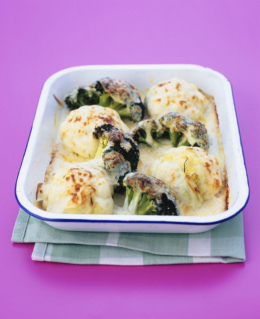 Cauliflower and broccoli cheese