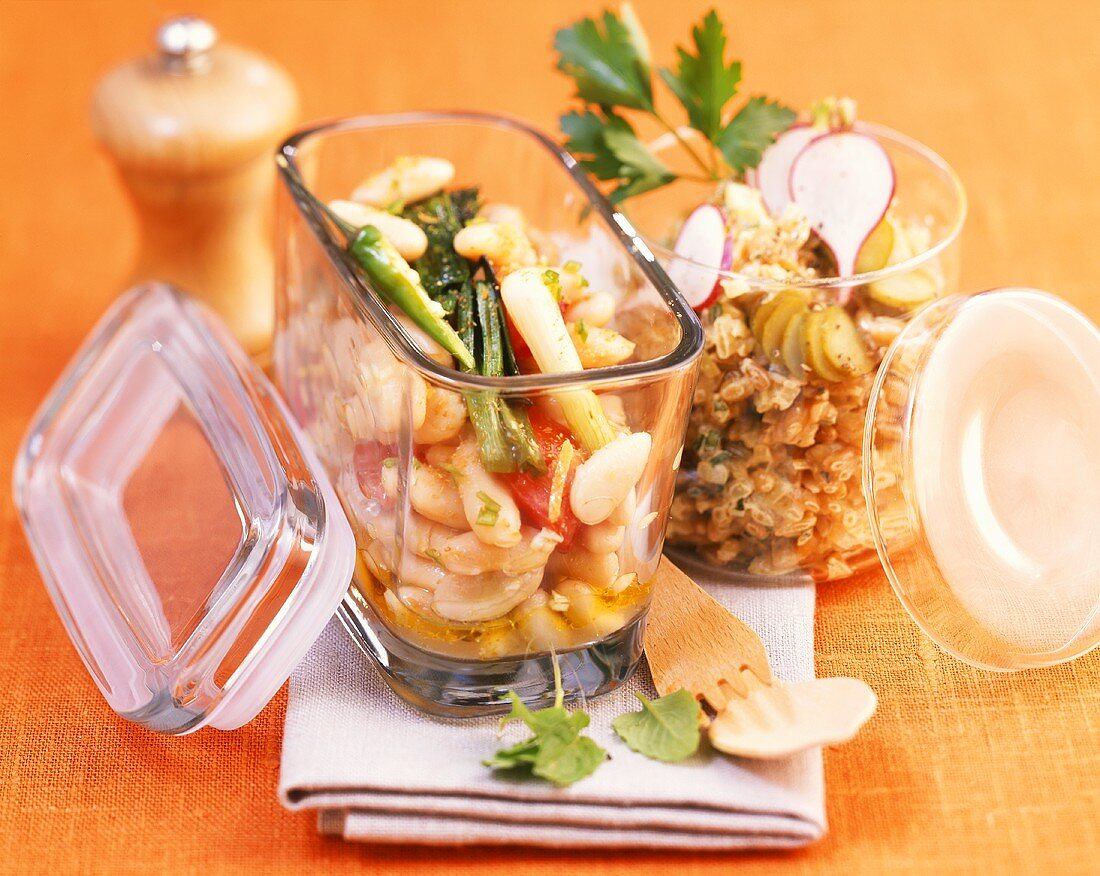 Bean salad and grain salad in jars to take away