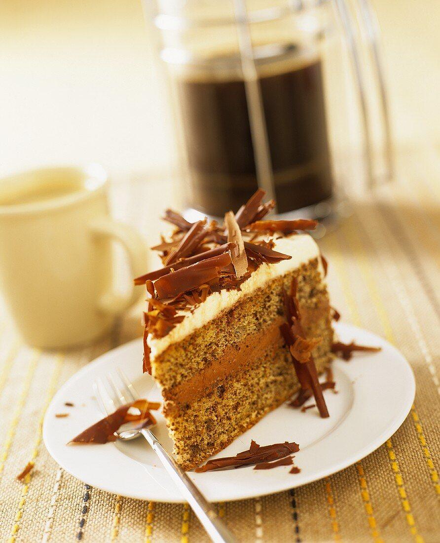 A piece of espresso cake with cognac