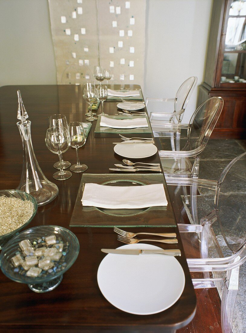 A laid dining table