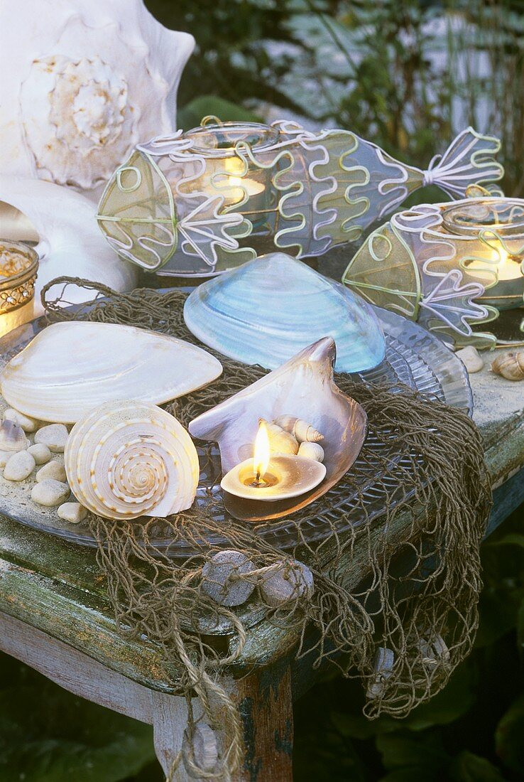 Maritime summer decoration: shells & tealights in fish-shaped holders