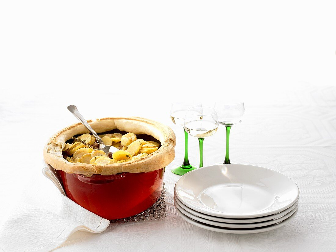Alsatian Baeckeoffe (Meat & potato stew with pastry crust)
