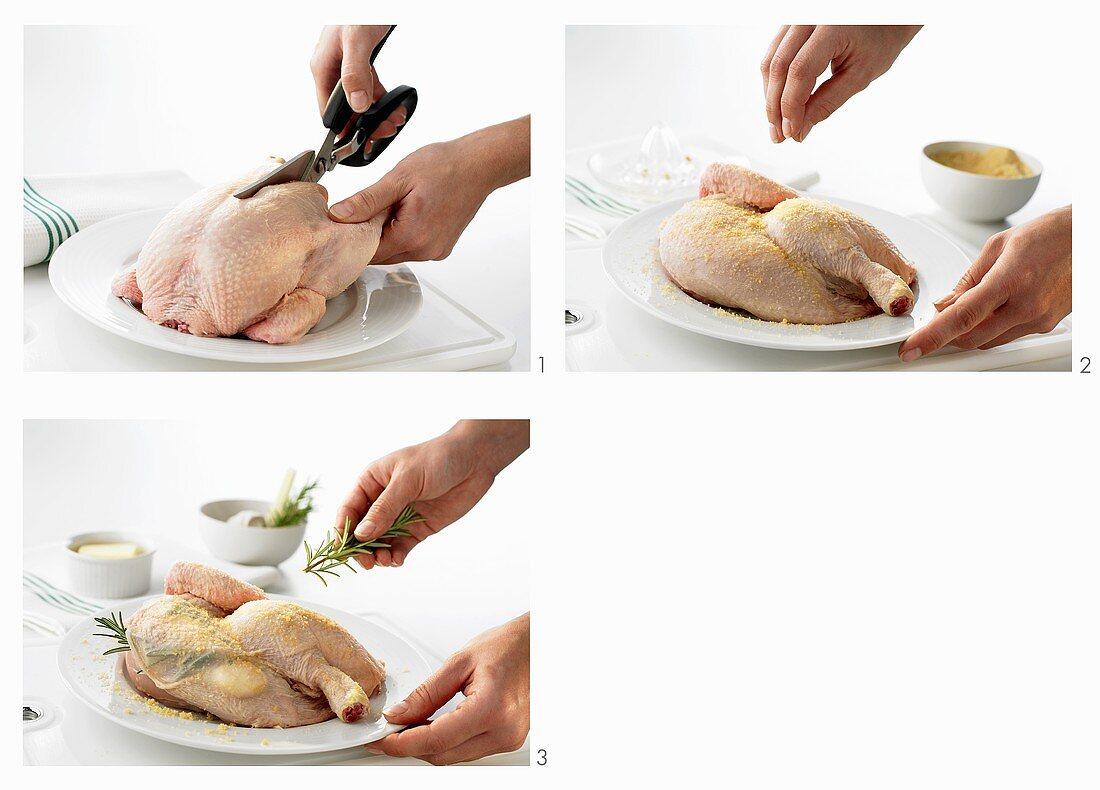 Preparing crispy half chicken & stuffing it under the skin