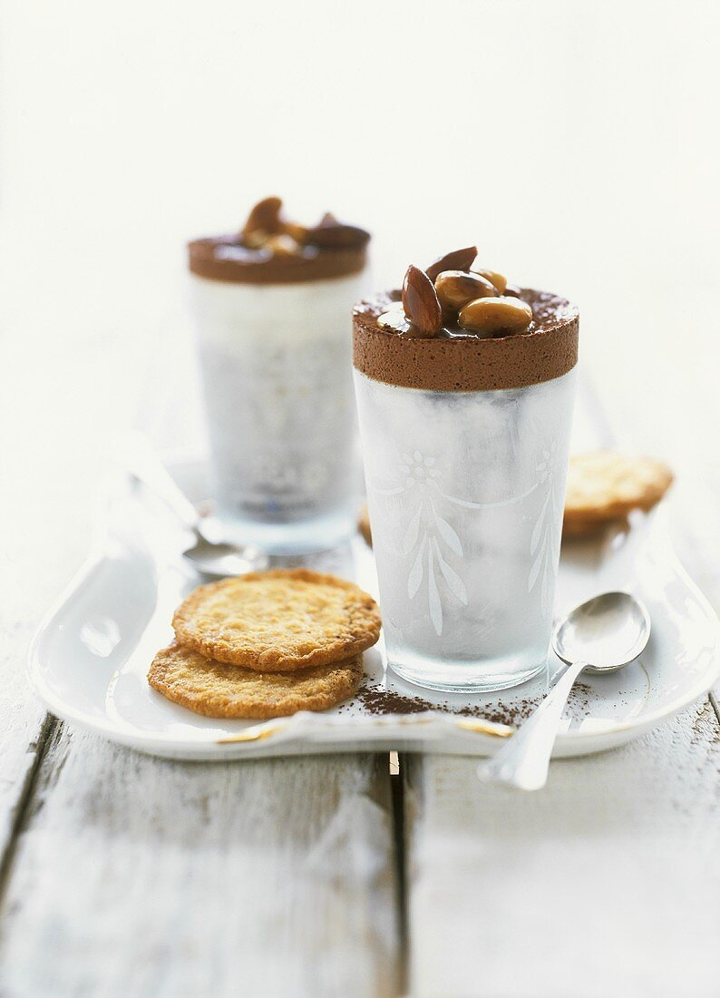 Chocolate ice cream soufflé with caramelised almonds