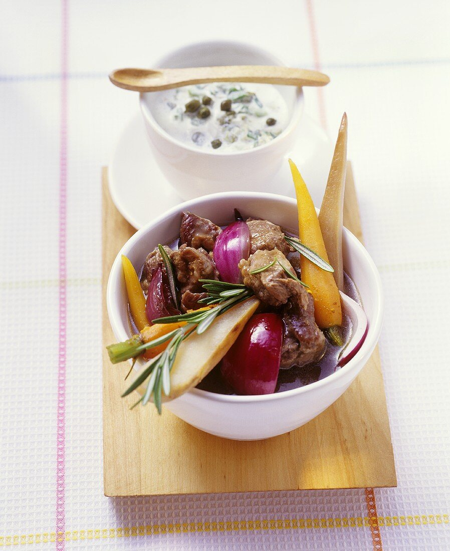 Lamb stew with parsnips, carrots and onions