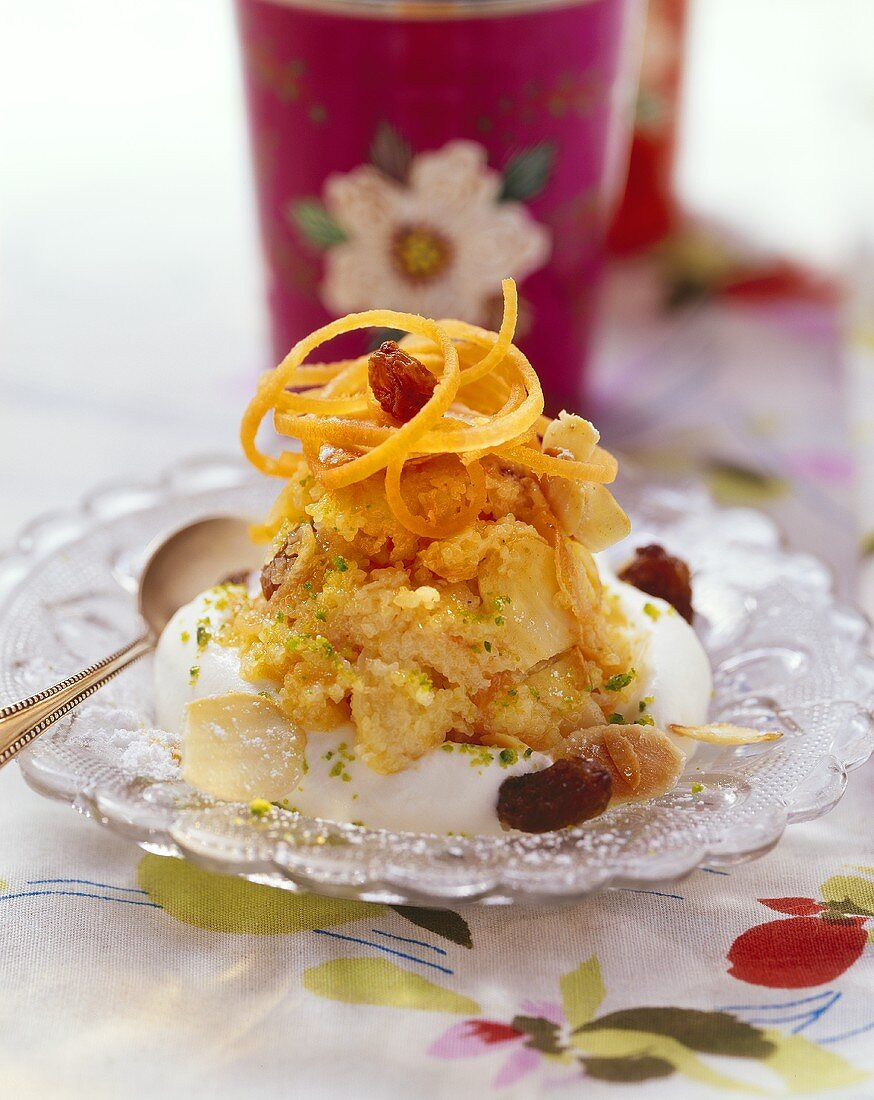 Carrot halva with almonds and raisins