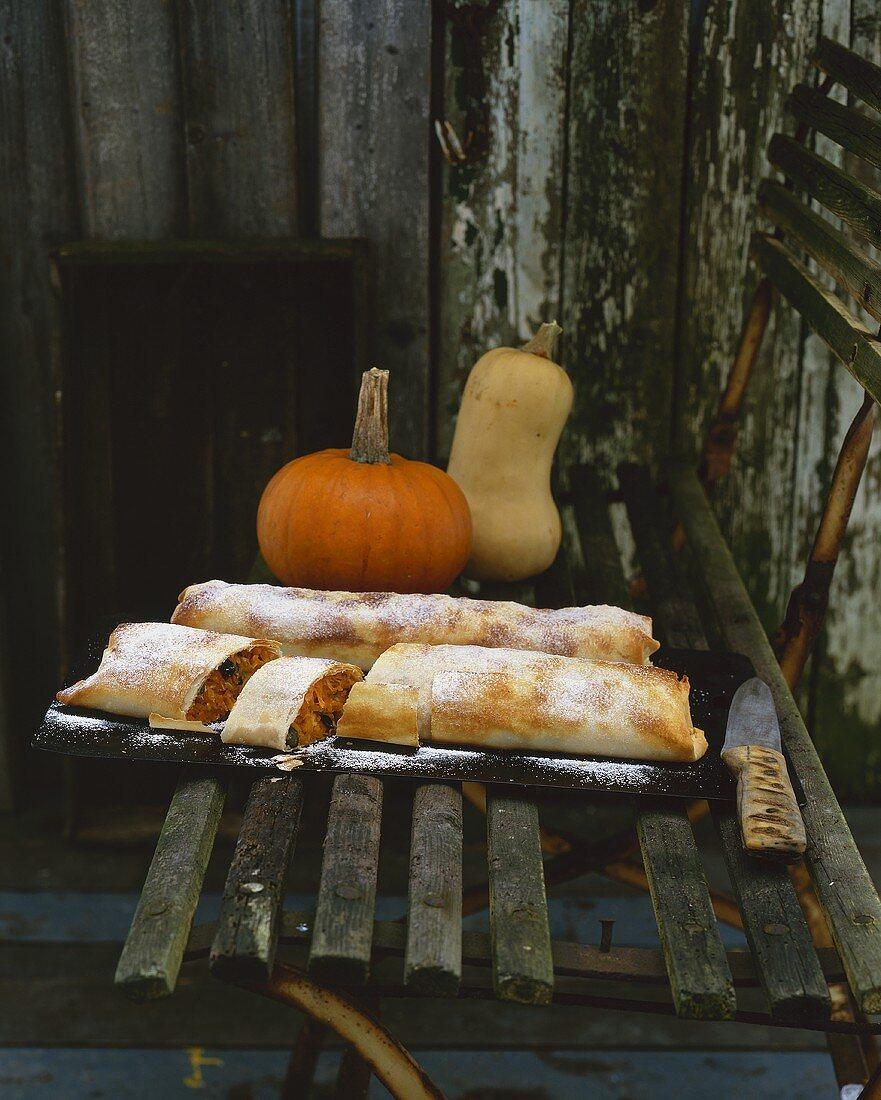 Two sweet pumpkin strudels