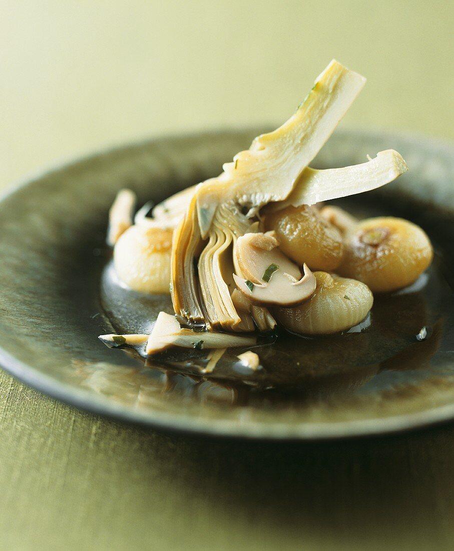 Caponatina invernale (Artischocken & Champignons süß-sauer)