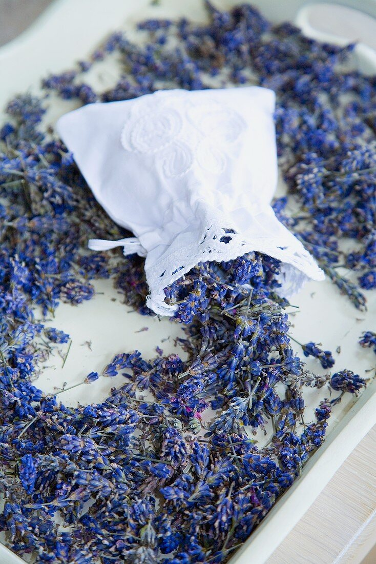 Dried lavender in tray and in lavender bag