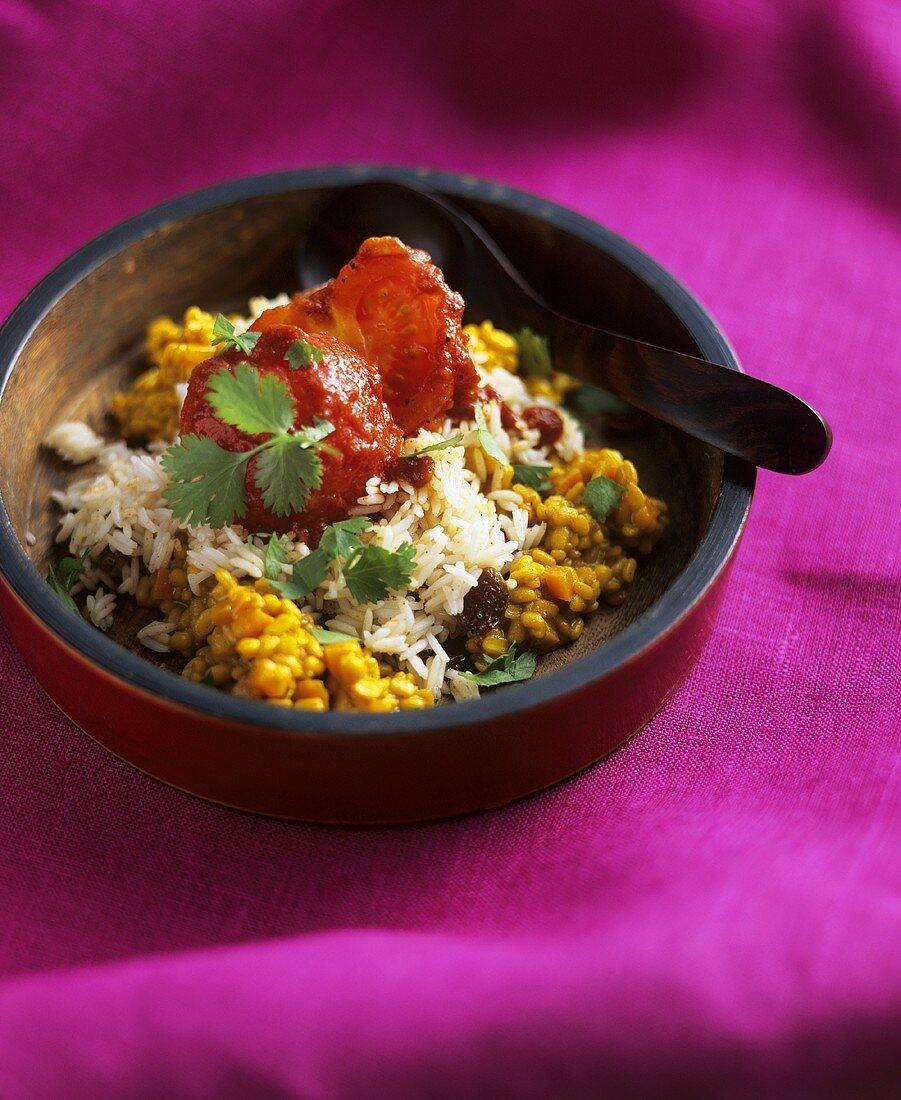 Yellow dal (Indian pulse dish) with raisin rice