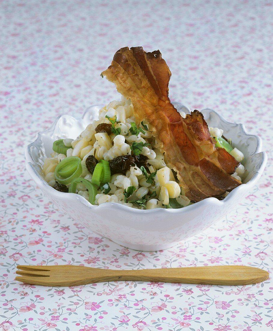 Pearl barley salad with smoked bacon