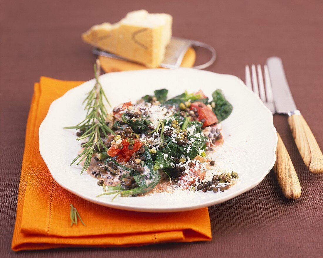 Lentils and tomatoes with spinach, Parmesan and rosemary