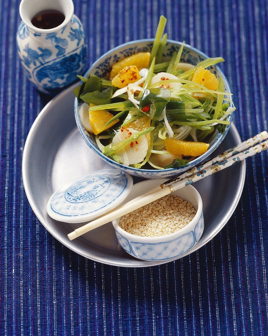 Salad from land & sea, with seaweed, water chestnuts & oranges