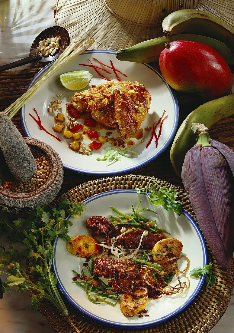 Chicken with lemon grass and duck with banana