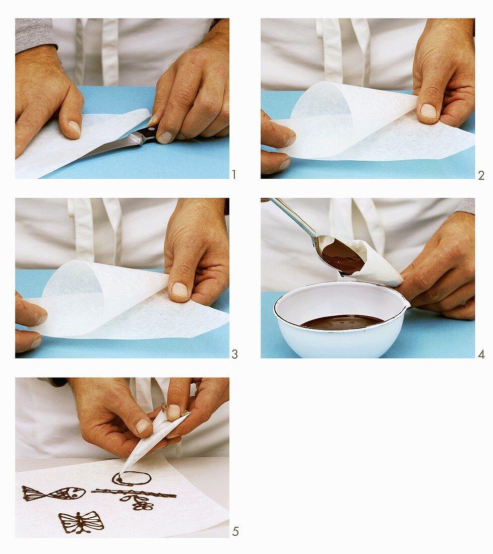 Making a piping bag and piping chocolate decorations