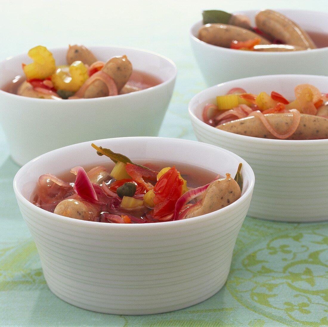 Saure Zipfel (Sausages cooked in vinegar)