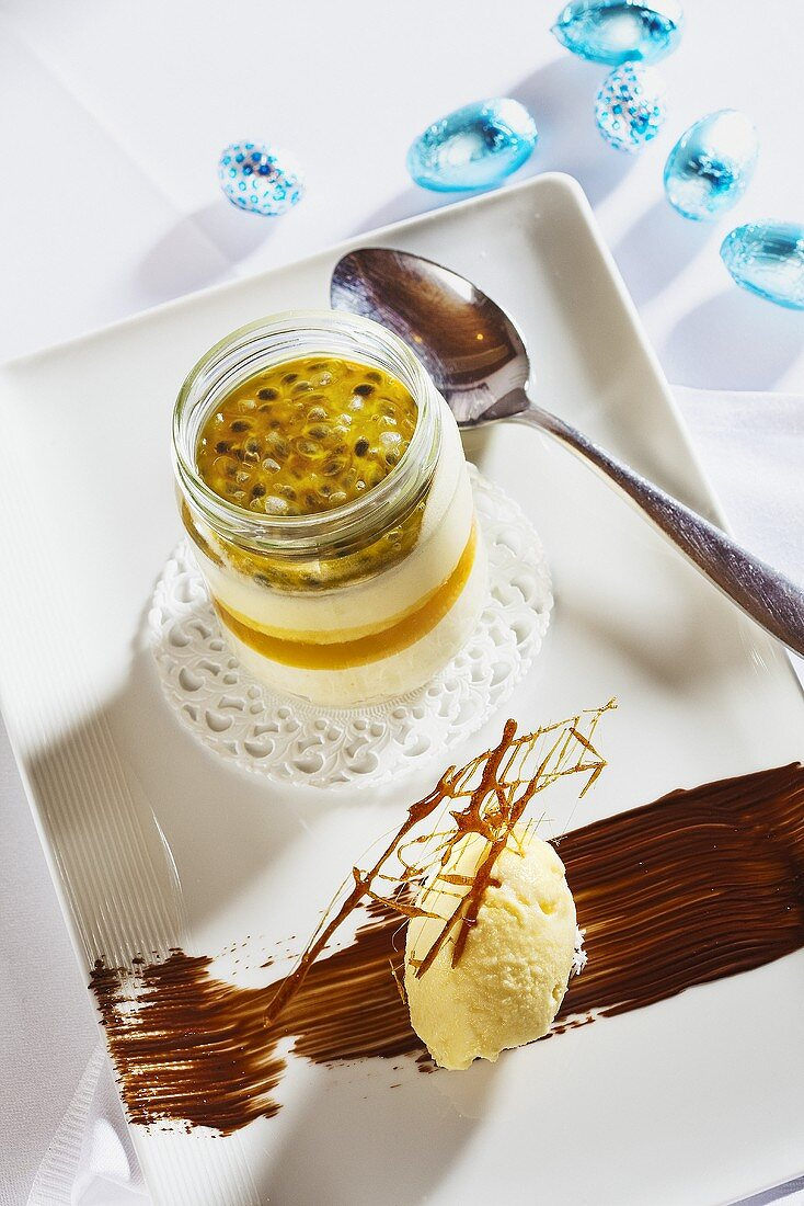 A glass of passion fruit dessert