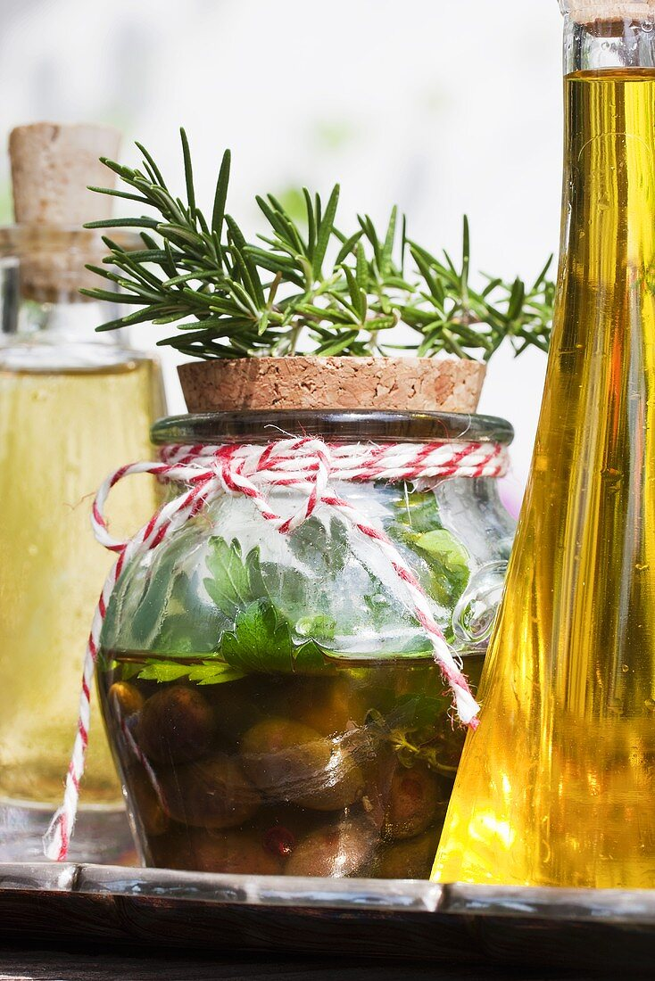Pickled mushrooms with herbs and olive oil
