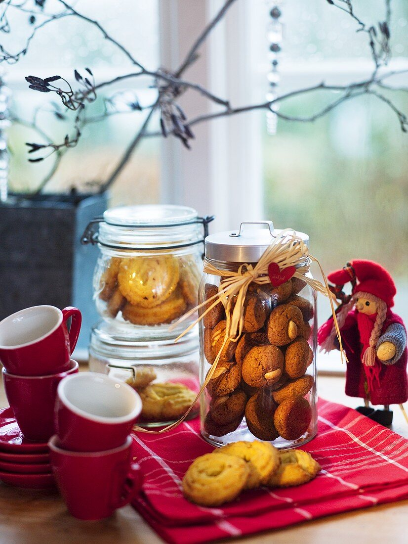Gingerbread and vanilla biscuits in jars