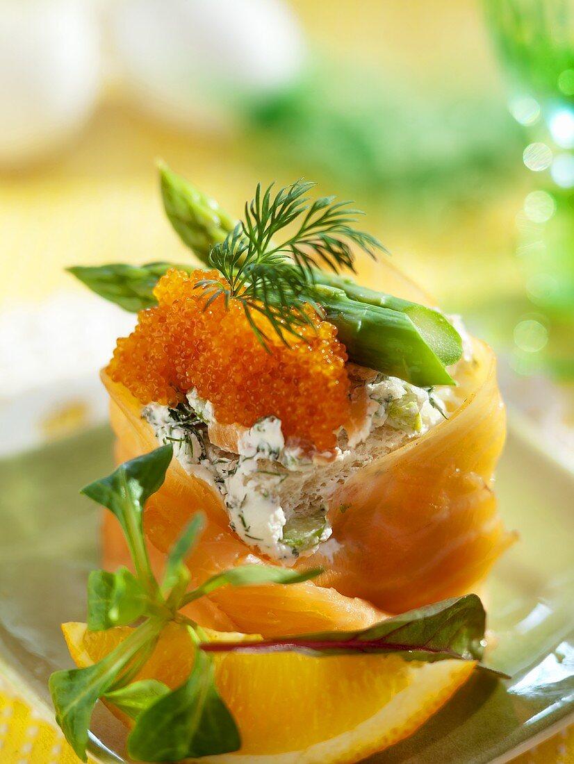 Salmon and caviar paste with asparagus