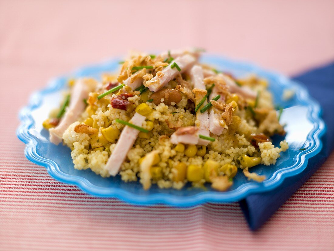 Couscous salad with turkey breast