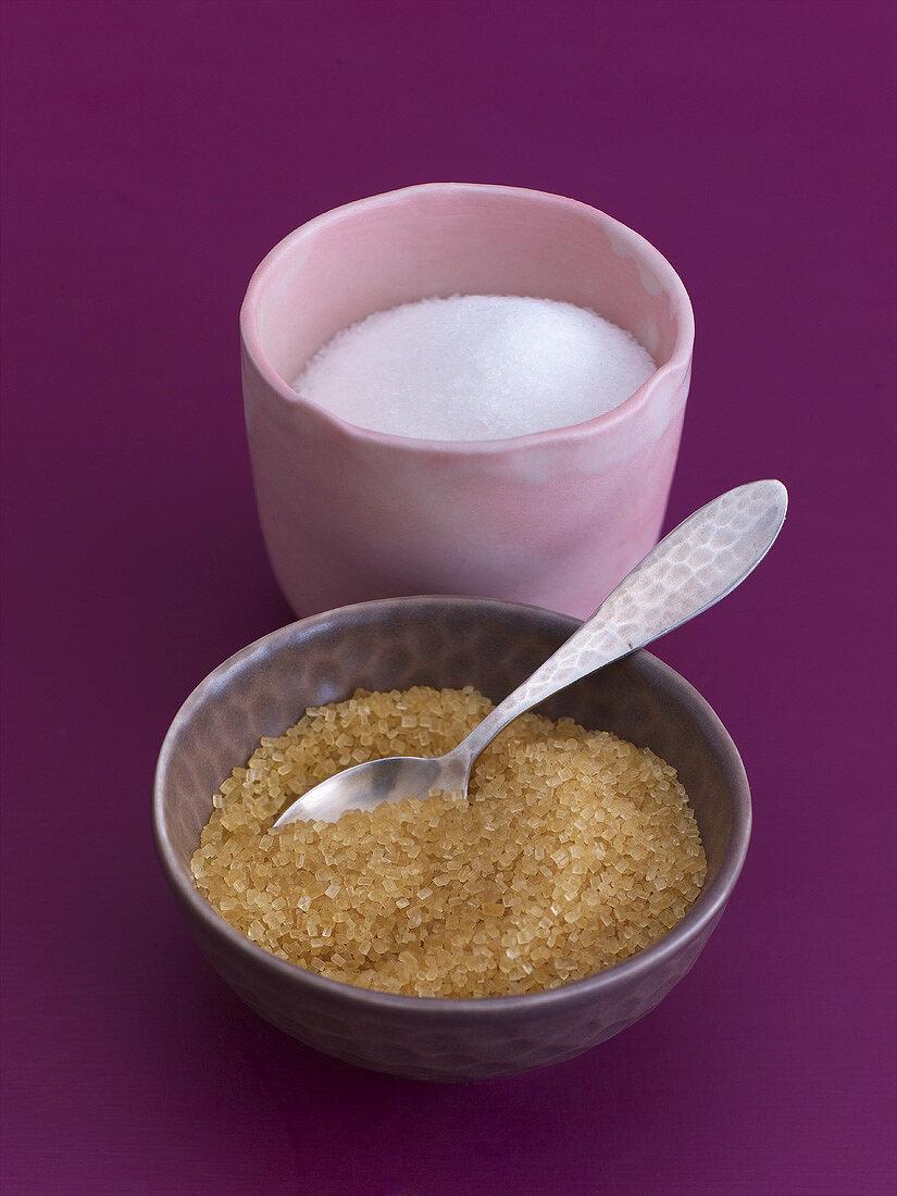 A bowl of white granulated sugar and a bowl of cane sugar