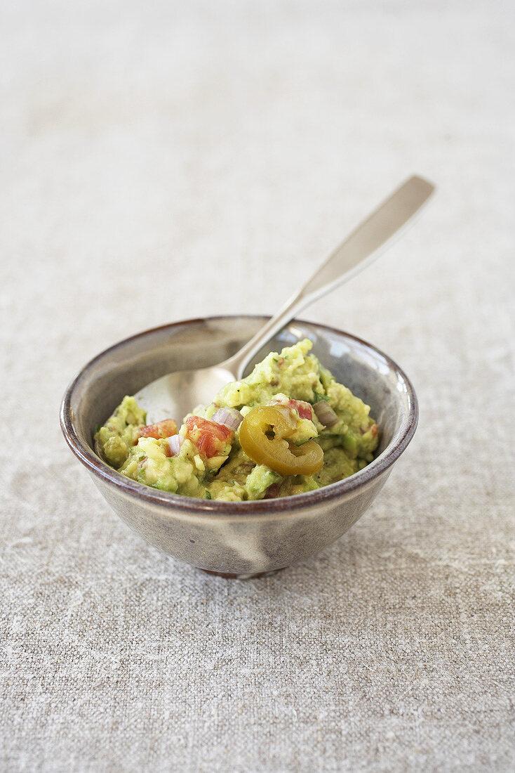 A small dish of guacamole