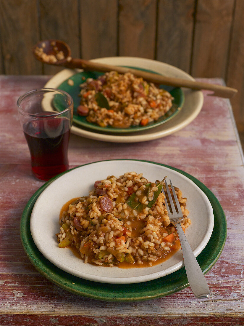 Lentil risotto made with champagne