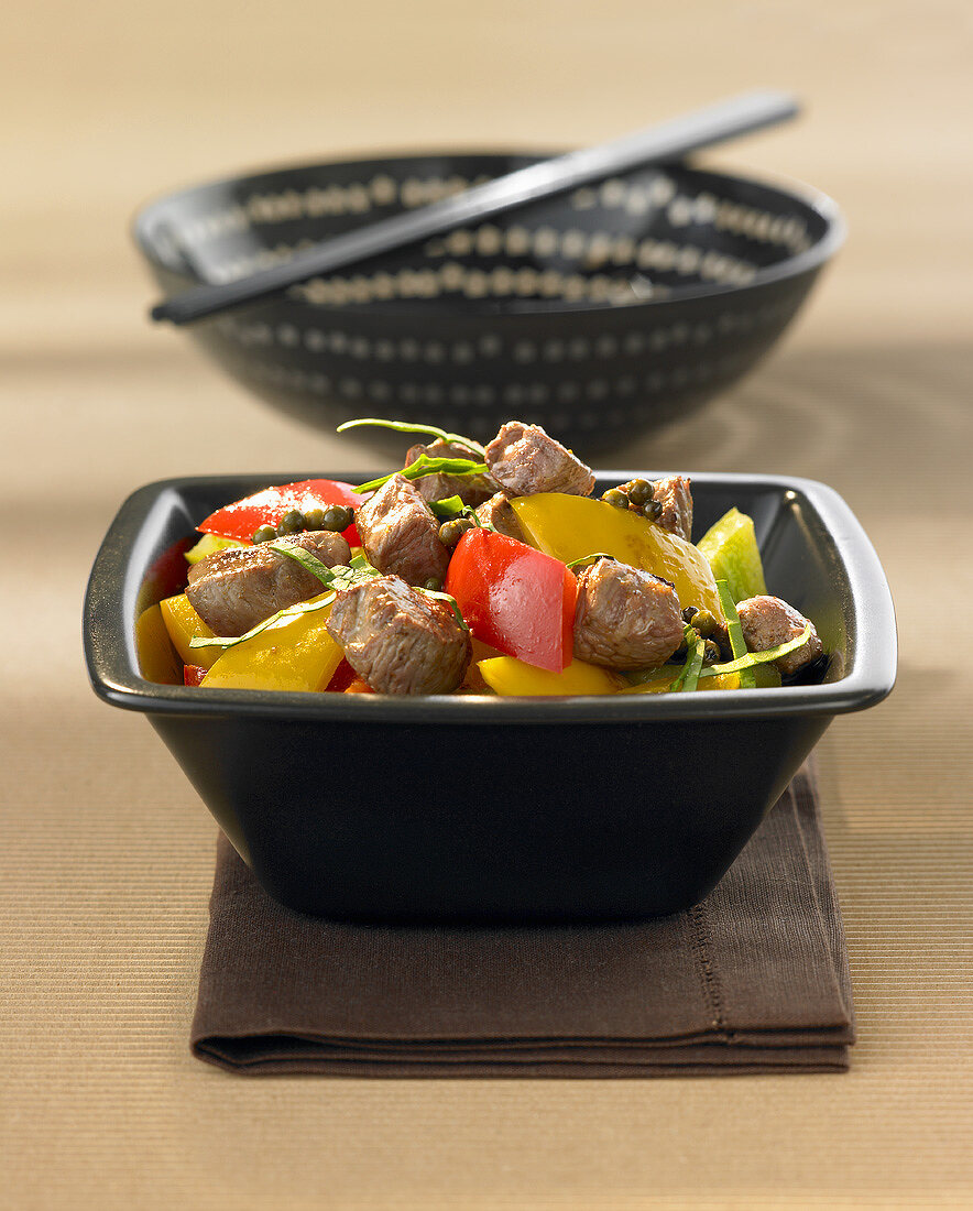 Diced lamb with peppers