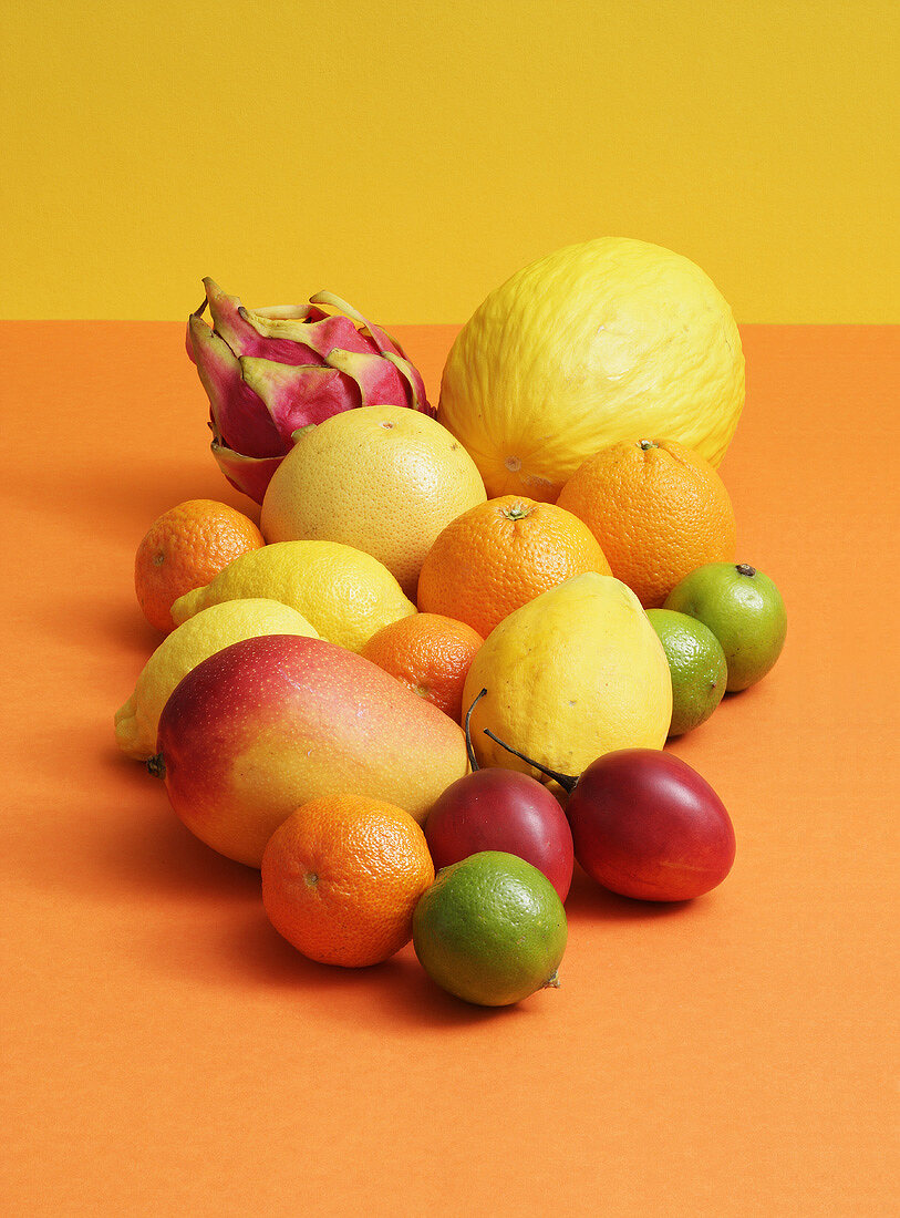 An assortment of exotic fruits