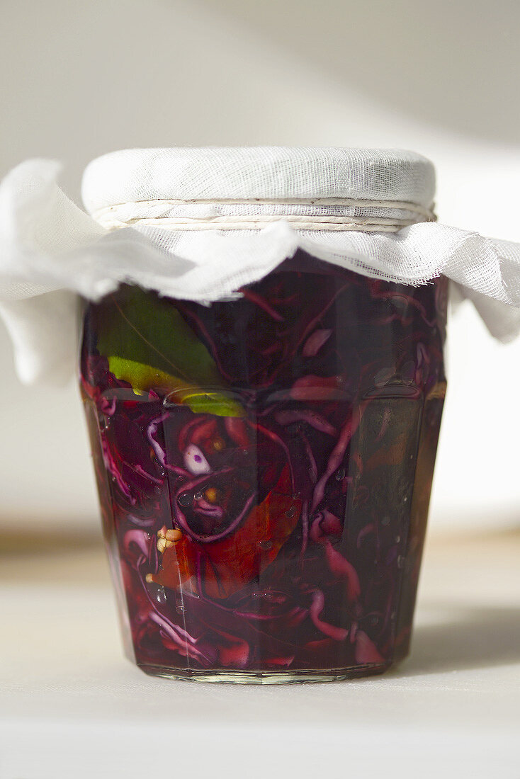 Pickled red cabbage in a screw-top jar