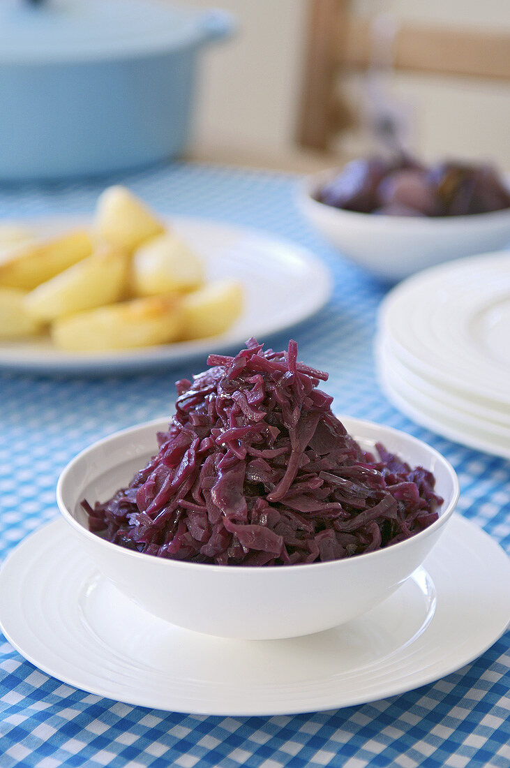 A bowl of red cabbage