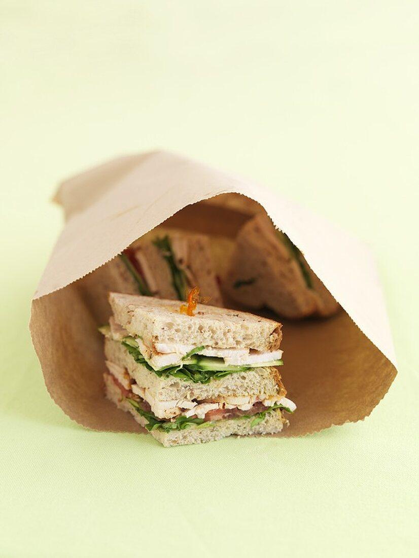 Chicken sandwiches in a paper bag