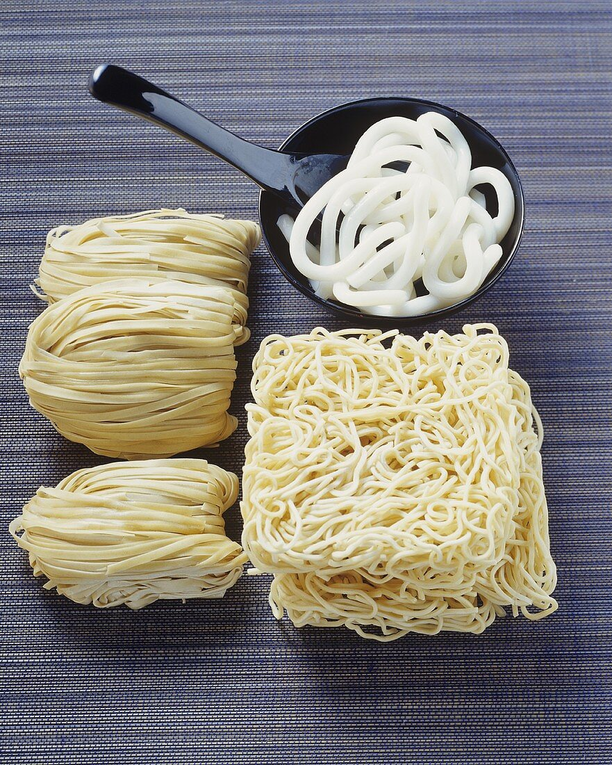Various types of Asian wheat noodles