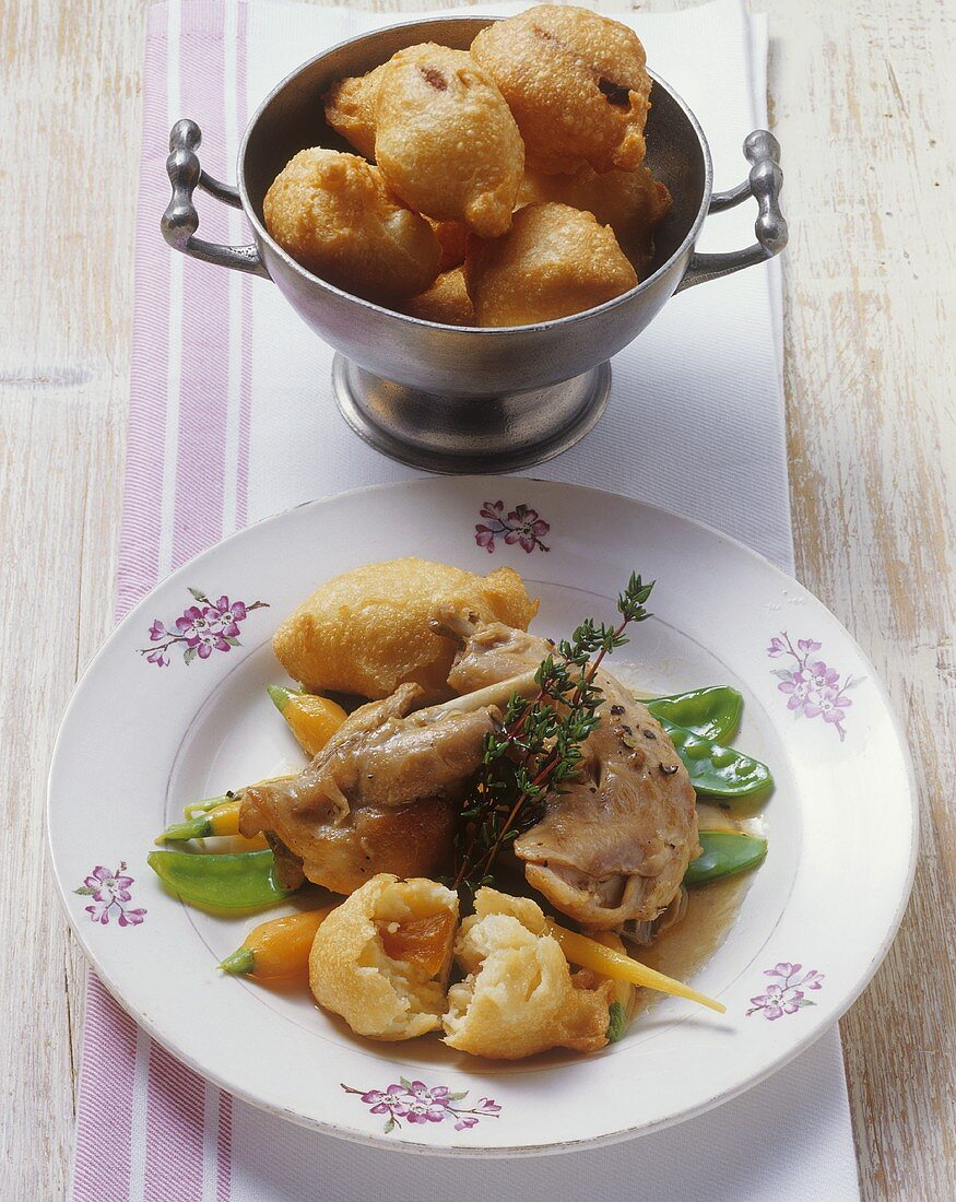 Rabbit in Riesling sauce with apricot fritters
