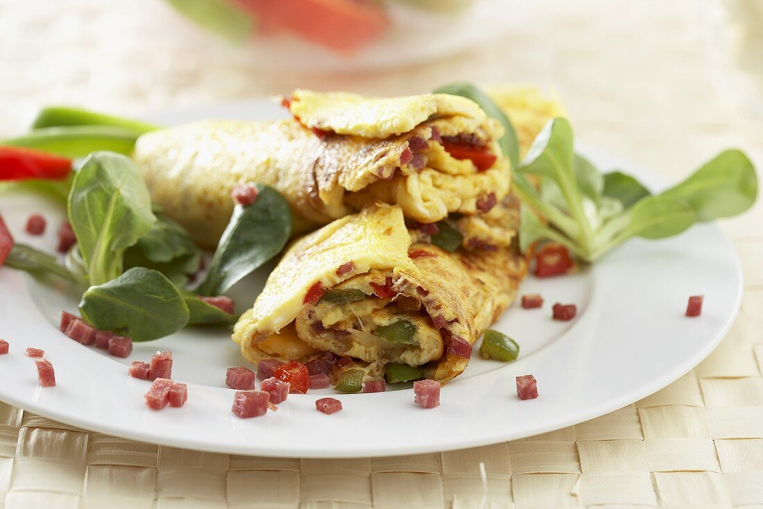 Cheese and pepper omelette with salami
