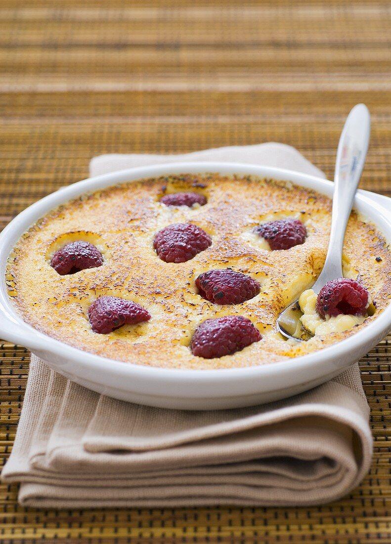 Catalan cream with raspberries