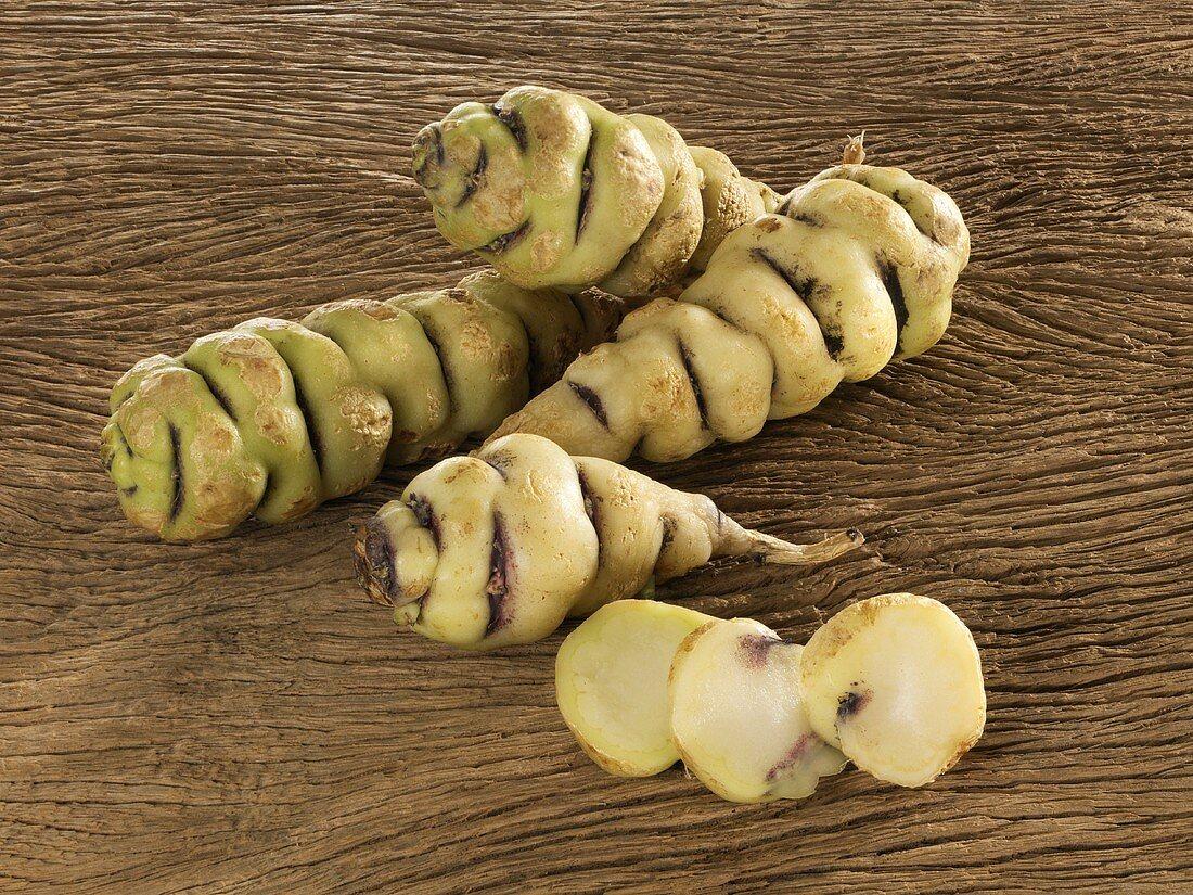 Cubio tubers (mashua, S. America), whole and sliced