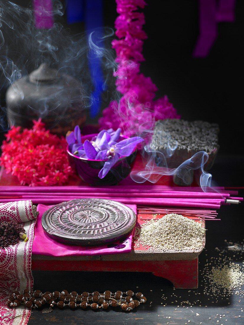 Ajowan with incense sticks (India)