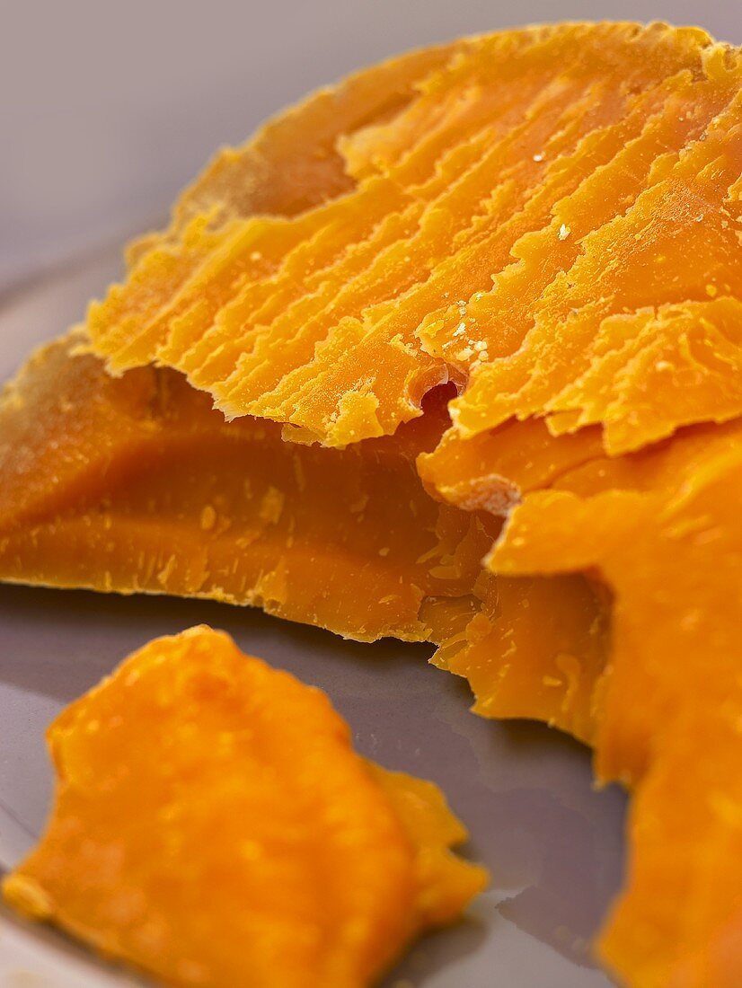 A piece of Mimolette (Hard French cheese)